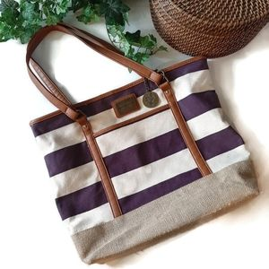 YOUNIQUE striped canvas lined tote bag